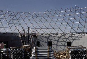 Construction of the aluminum framing of the Bloedel Conservatory.