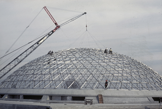 Bloedel Conservatory under construction.