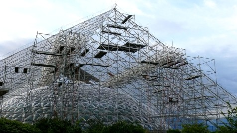 Complex scaffolding covered the dome for 7 months while the roof replacement took place. Photo by Vicky Earle